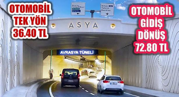 Avrasya Tüneli Geçiş Ücretine Zam: Tek Yön 36 Lira