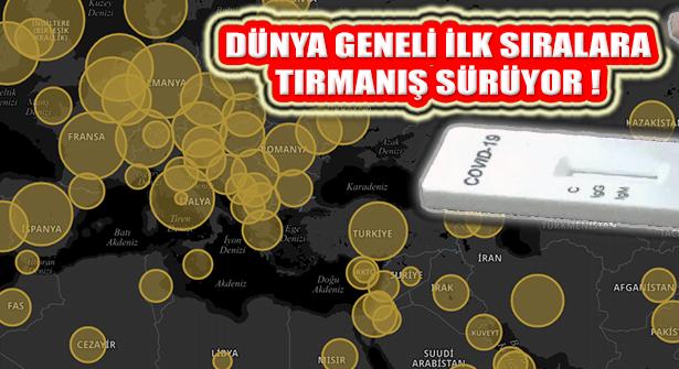 Türkiye Dünya Geneli Kovid Vakası verilerinde ilk 10 içinde