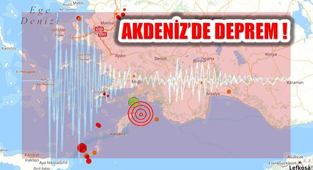 Muğla Marmaris Açıklarında Akdeniz'de Deprem