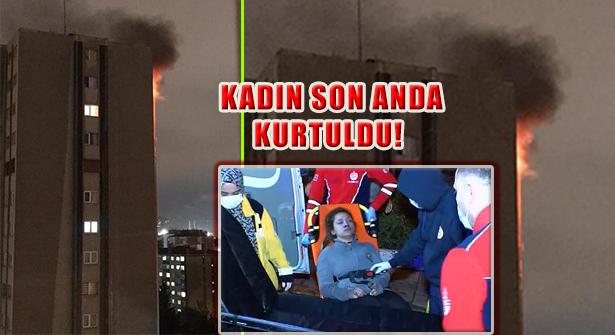 Ataşehir'de Yangında Koli Bandıyla Bağlanmış Kadın Kurtarıldı