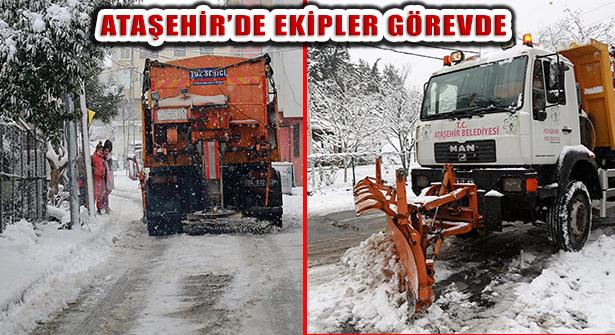 Ataşehir'de Kar ve Buzlanmaya Müdahale Ekipleri Görevde