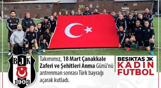 Beşiktaş Vodafone Kadın Futbol Takımı Çanakkale Zaferi'ni Kutladı