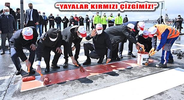 Vali Yerlikaya, Üsküdar'da Yaya Geçidine 'Kırmızı Çizgi' Çekti