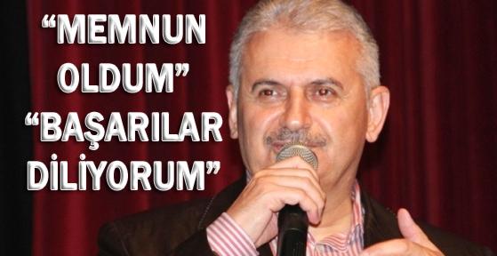 BİNALİ YILDIRIM, 'AHMET DAVUTOĞLU'NA BAŞARILAR DİLİYORUM'
