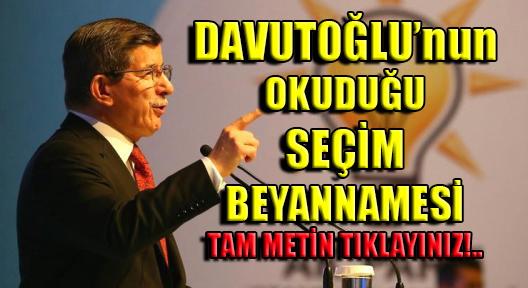 Başbakan Davutoğlu'nun Seçim Beyannamesi